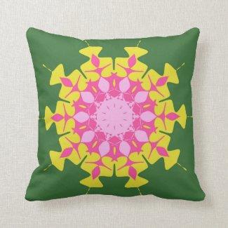 Pink green mandala throw pillows