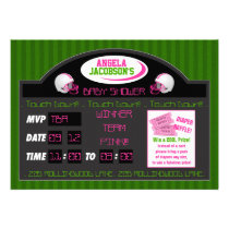 pink green football scoreboard baby shower invitation
