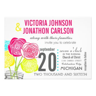Pink Green Yellow Photo Floral ModernTypography Custom Invites