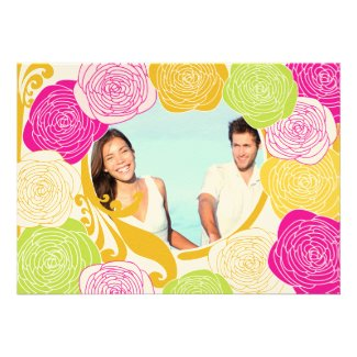 Pink Green Yellow Photo Floral Modern Typography Custom Announcement