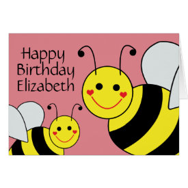 Pink Happy Birthday Bumble Bee Personalized Card