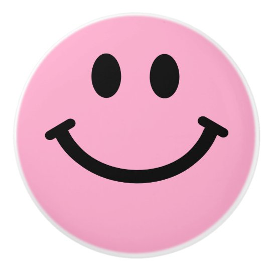 knobs and pulls for kitchen cabinets craftsman style cabinet doors pink happy smiley face ceramic knob | zazzle.com