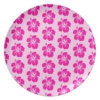 Pink Hawaiian Melamine Plate | Zazzle