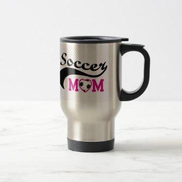 Pink Heart O Soccer Mom Travel Mug