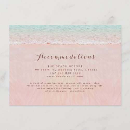 Pink hearts in the sand beach accommodations enclosure card