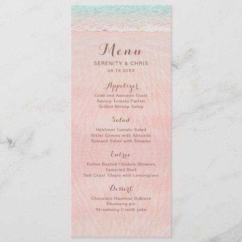 Pink hearts in the sand destination beach wedding menu