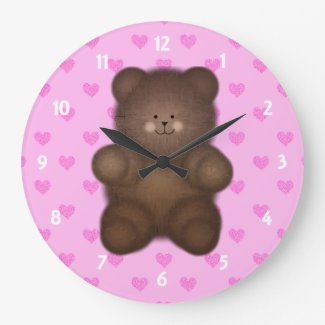 Pink Hearts: Teddy Bear Wall Clock On Blue