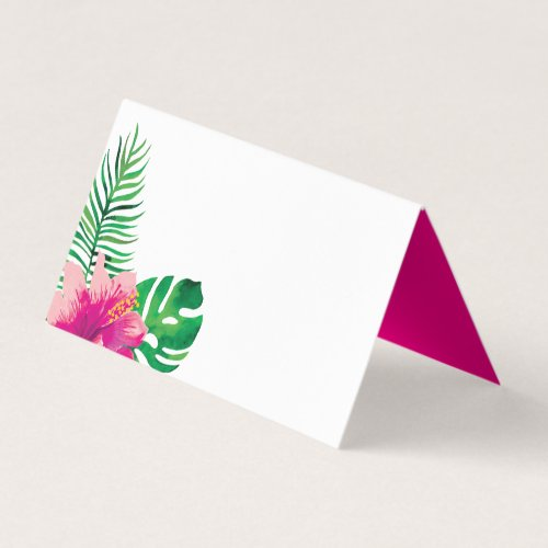 Pink Hibiscus and Tropical Leaves Place Card