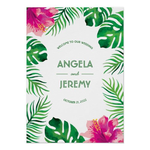 Pink Hibiscus and Tropical Leaves Wedding Poster