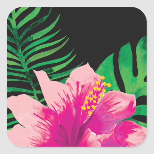 Pink Hibiscus Flower and Tropical Leaves Square Sticker