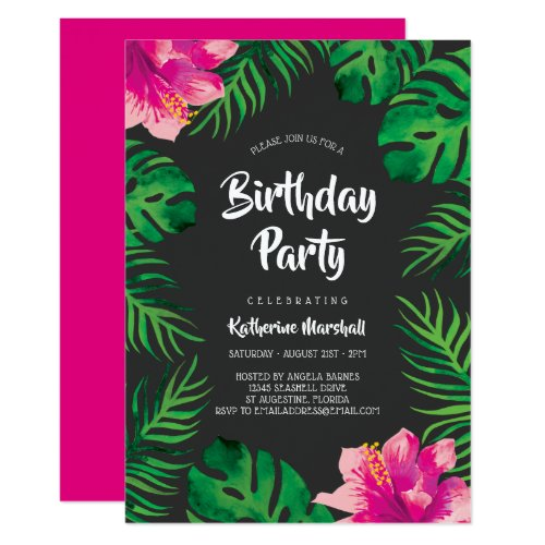 Pink Hibiscus Tropical Leaves Birthday Party 2 Invitation