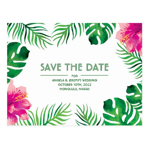 Pink Hibiscus Tropical Save the Date Postcard