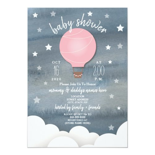 Pink Hot Air Balloon + Stars Girl Baby Shower Card
