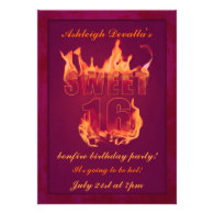 Pink Hot Fire Sweet 16 Bonfire Party Invitation
