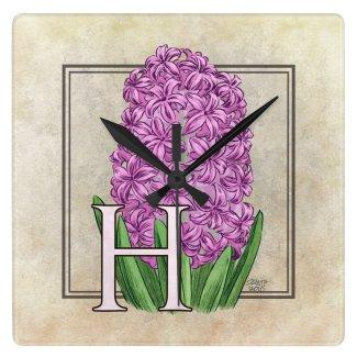 Pink Hyacinth Flora Monogram Square Wall Clock