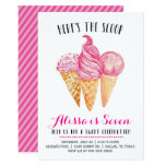 Pink Ice Cream Birthday Invitation