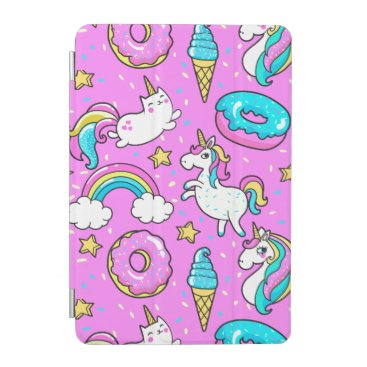 Pink Kitschy glittery funny unicorn and kitty iPad Mini Cover