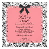 Pink Lace & BW Damask with Bow Sweet 16 Invitations