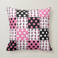 Pink Ladybug Polka Dots Baby Girl Quilt Blocks Throw Pillow