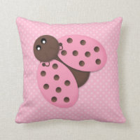 Pink Ladybug Throw Pillow