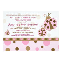 Pink Ladybugs Baby Sprinkle Invitations