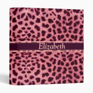 Pink Leopard Skin Pattern 3 Ring Binder