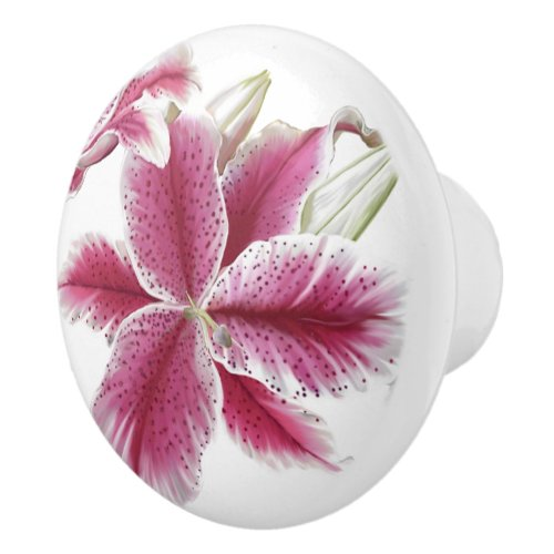 Pink Lily Floral Ceramic Knob