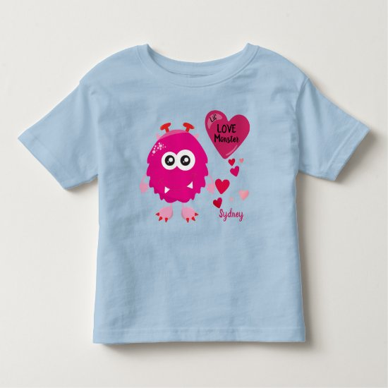 Pink Little Love Monster with Hearts | Toddler T-shirt
