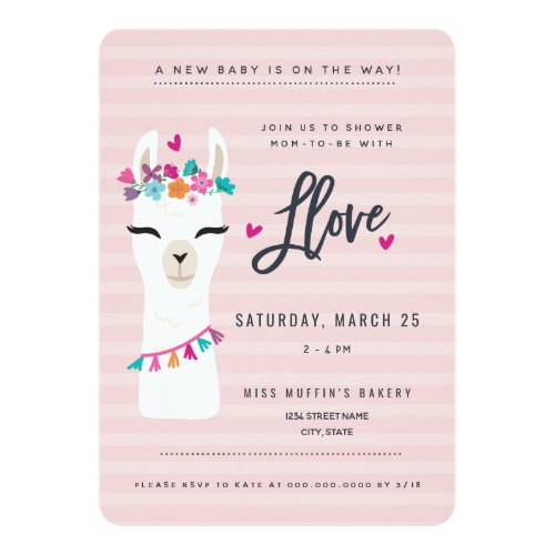 Pink LLama baby shower Invitation // llama love