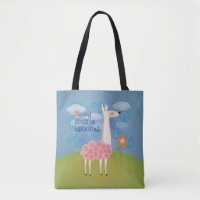Pink Llama on Hilltop w/ Text Tote Bag