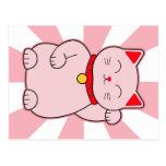 Pink Lucky Cat Postcard