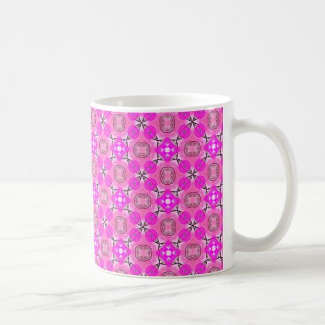 Pink Magenta Modern Abstract Flower Quilt Coffee Mug