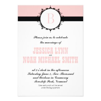 Pink Monogram Wedding Invite or any color