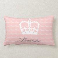 Pink-n-White Princess Lumbar Pillow | Zazzle