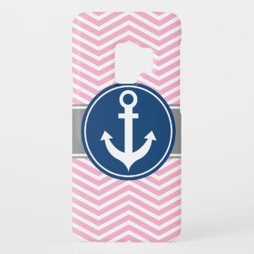 Pink Nautical Anchor Chevron Case-Mate Samsung Galaxy S9 Case