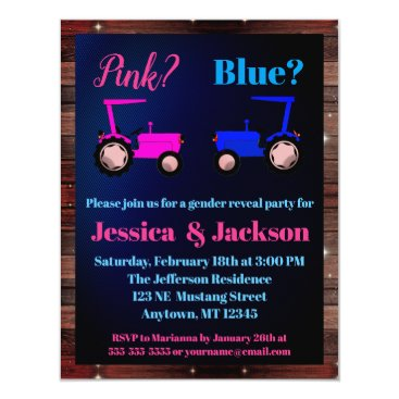 """""""Pink or Blue"""" Tractors Farm Style Gender Reveal Card"""