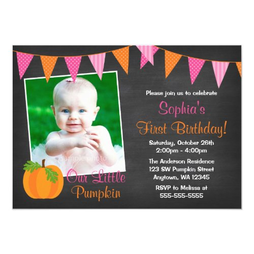 Pink Orange Pumpkin Chalkboard Girl Photo Birthday Invitation