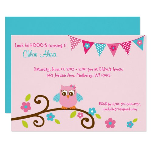 Pink Owl 1st Birthday Invitation
