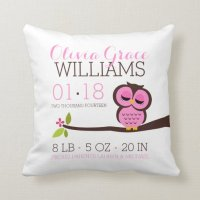 Pink Owl Baby Birth Announcement Throw Pillow | Zazzle.com