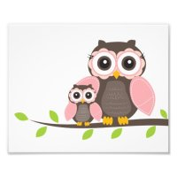 Pink Owl Nursery Wall Art for Girl Poster | Zazzle.com
