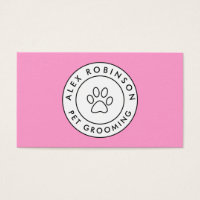 Pink paw print pet grooming business card