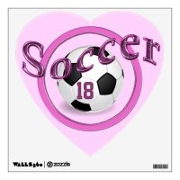 Pink Personalized Soccer Wall Decals for Girls | Zazzle.com