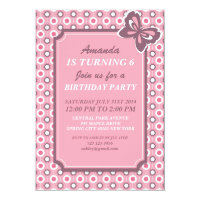 Pink Polka Dots and Butterfly Invitation Card