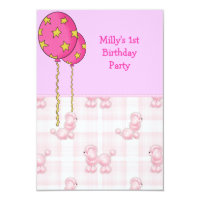 Pink Poodle 1st Birthday Party Balloons Card