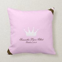 Pink Princess Crown Custom Baby Pillow | Zazzle