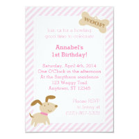 Pink Puppy Dog Invitation with Stripes and Dots