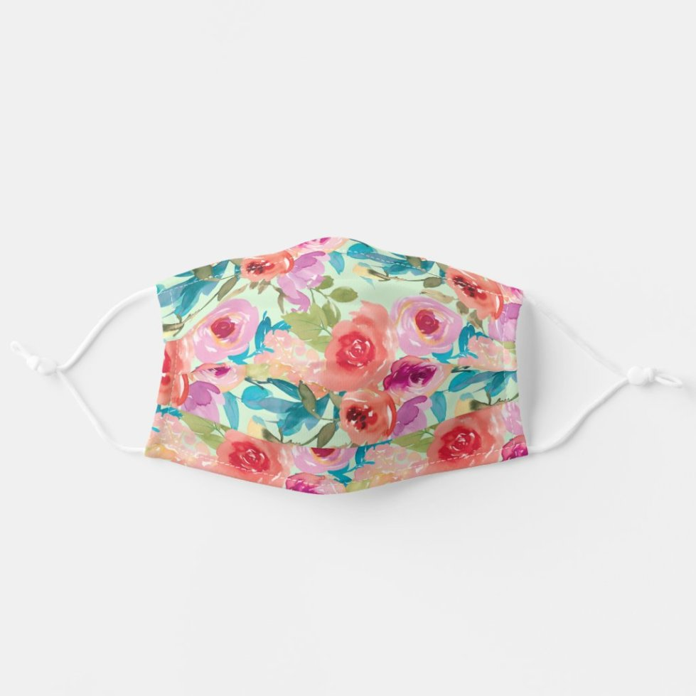 Pink Purple Watercolor Flowers Teal Leaves Green Adult Cloth Face Mask