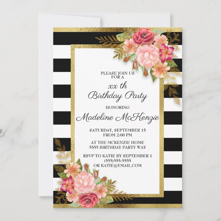 https www zazzle com pink red floral black white stripes gold birthday invitation 256582188197467259