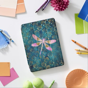 Pink Rose Gold Dragonfly on Turquoise Blue Foil iPad Air Cover