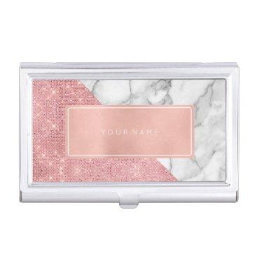 Pink Rose Gold Metallic Minimal White Gray Marble Business Card Case